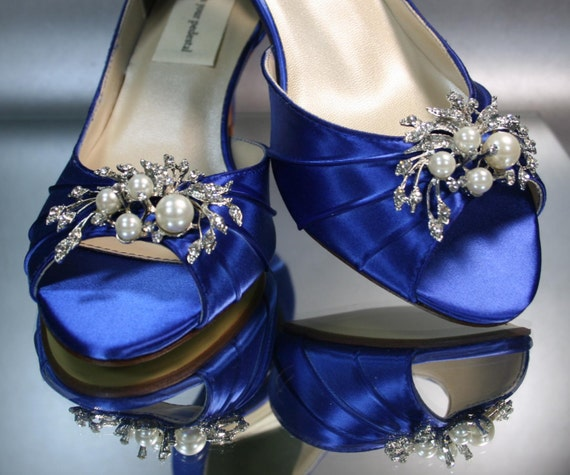 Royal Blue Wedding Heels: Wedding Shoes Ivory Peeptoes With Peridot By