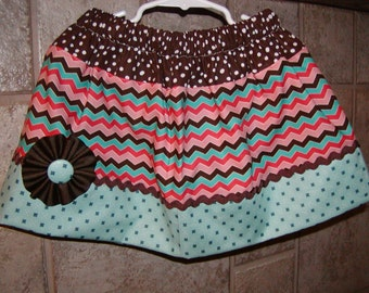 Color Chevron Dots..Girls Skirt, Twirl skirt. Available in 0-12 months, 1/2, 3/4, 5/6, 7/8, 9/10 Bigger Sizes Available