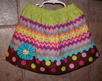 Color Polka Dot Chevron..Girls Skirt, Twirl skirt. Available in 0-12 months, 1/2, 3/4, 5/6, 7/8, 9/10 Bigger Sizes Available