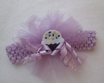 childs crochet cupcake headband