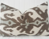 Brown Pillow.Decorative Pillow Cover.Throw Pillow.Brown Blue.Brown Cushion Covers.Pillow Cover.Ikat
