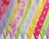 Pastel Bunting Fabric Flags Banner Pennants, Girl's Birthday, Photo Prop, Baby Shower, Nursery Pink Yellow Green Purple