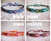 Friendship Bracelet - MADE TO ORDER: Braided Handmade Embroidery Floss Fiber Friendship Bracelet - Thin Graduated Arrowhead