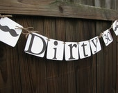Dirty 30 Banner, Birthday Mustache Banner, Mustache Bash, Masculine Birthday Banner, 30th Birthday, Birthday Banner, Dirty 30 Decor