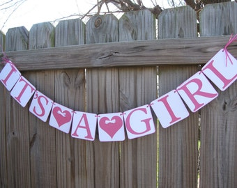 It's A Girl Banner-Garland-Baby Shower-Baby Photo Prop-New Baby Announcement