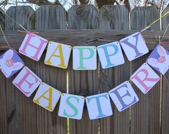 Happy Easter Banner, Spring Banner, Bunny Garland, Spring Home Decor, Spring Garland, Happy Easter Garland, Colorful Easter Garland