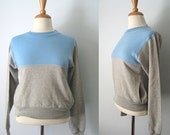 Vintage 80s baby blue & grey two-tone windcheater - wind cheater - retro 1980s jumper - Medium