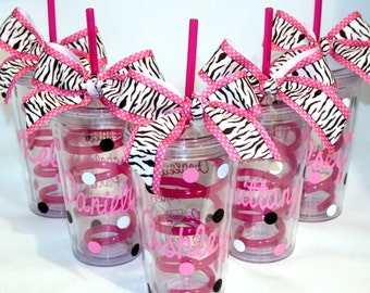 1 Personalized Acrylic Tumblers with Pink Crazy Straws