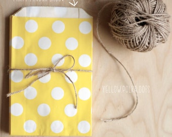 Yellow Polka Dot Party Favour Bags - 5 x 7 inch Favor Gift Bag - Packet of 12