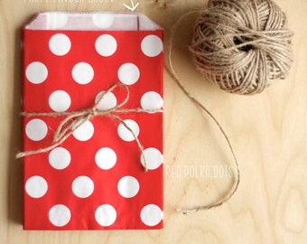 Red Polka Dot Party Favour Bags - 5 x 7 inch Favor Gift Bag - Packet of 12