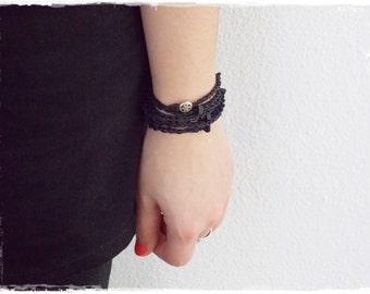 Celtic Wrap Bracelet, Crochet Beaded Bracelet, Long Wrap Bracelet, Black Bead Wrap Bracelet, Celtic Knot Black Bracelet, Multiwrap Bracelet