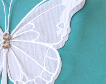 Set of 5 large white two layers butterflies  embellished with two rhinestones any occasion wedding