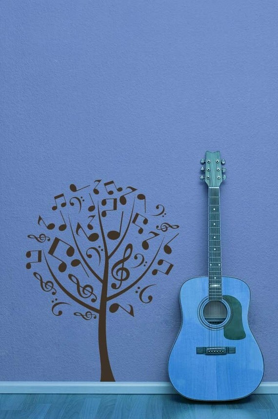 Wall Decorations Music : Tree wall decal music notes treble bass by vinylwalladornments