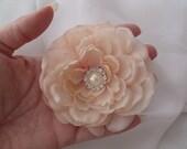 Wedding Bridal Hair Flower - Victorian Light Blush Pink Rose Fascinator - Pearl Rhinestone - Romantic and Dainty - Bridesmaids