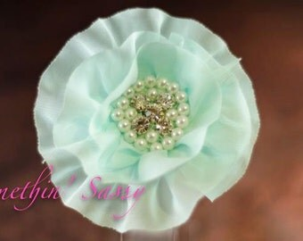 Soft and beautiful chiffon flower with sewn pearl and rhinestone center flower clip flower for girls