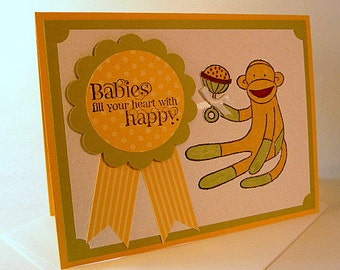 New Baby Card, sock monkey card, unisex baby card, baby girl card, baby boy card, watercolored card, green, yellow, hand stamped card (C1137