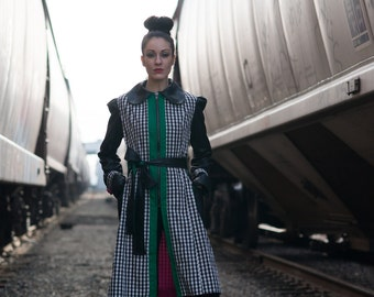Gwyn Faux Leather Detailed Trench - Fitted, Zipper Front, Exaggerated Shoulder, Trench Tie, Peter Pan Collar, Colorblocked