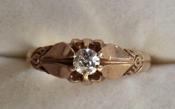 Antique Victorian Diamond Ring/.25 Carat Solitaire/14K/Engagement/Wedding