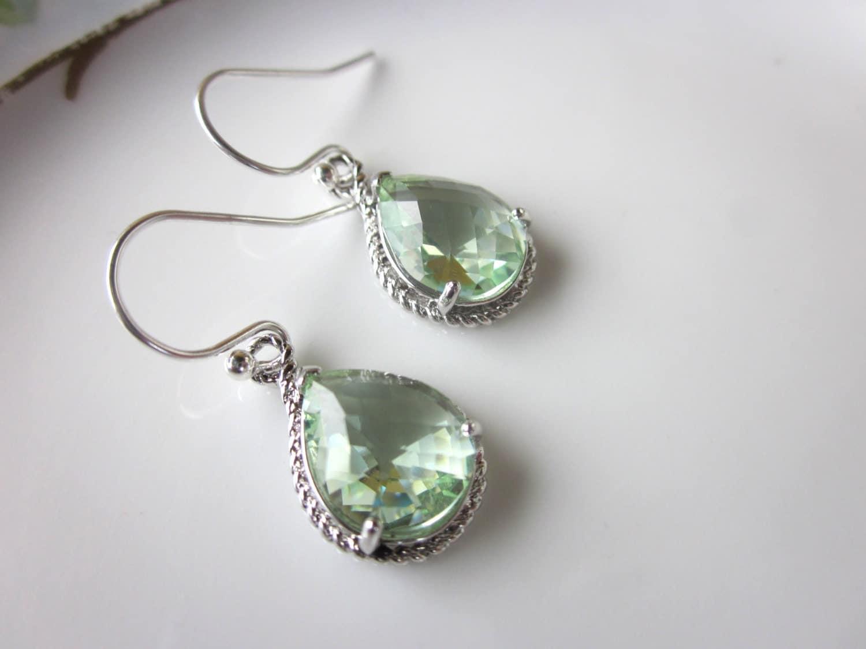 prasiolite earrings green silver teardrop bridesmaid earrings