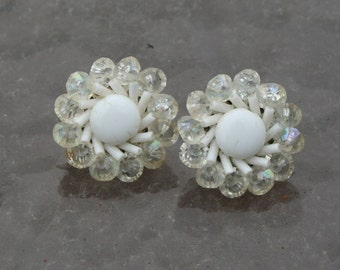 Vintage Earrings Flower White West Germany