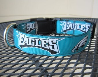 Dog Collar Made from Eagles Football Inspired Ribbon