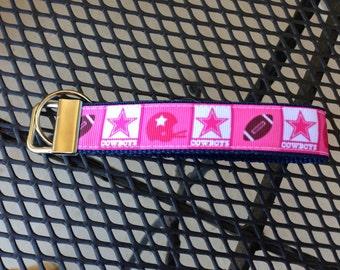 Pink Dallas Cowboys Inspired Keychain Wristlet