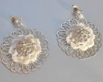 Crochet Bridal Earrings-Filigree Earrings-White Crochet Earrings-Bridal Accesories
