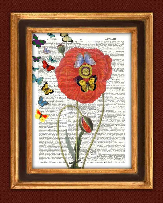 Poppies dictionary book page print Butterflies on poppy, Flower Dictionary Art Print, vintage illustrations, country cottage decor