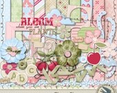 "Digital Scrapbook Kit - ""Cherry Blossom"" - Instant Download -10 12"" x 12"" papers, 38 elements & alpha for spring, girls or everyday"
