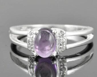 Amethyst ring, sterling silver ring, gemstone ring, oval ring, february birthstone