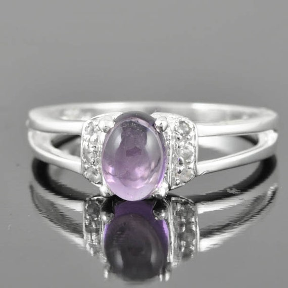 Amethyst ring, sterling silver ring, gemstone ring, oval ring, february birthstone