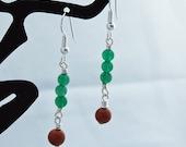 Green Aventurine & Sparkling Brown Goldstone Dangle Earrings