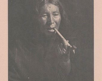 Vintage 1890 - 1910 Chippewa Portraits Native American Indian Print Plate A