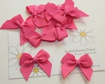 "10 Piece- 1"" Small  Pink Bows-Sewing Supplies-Hair Bow Supplies-Craft Supplies"