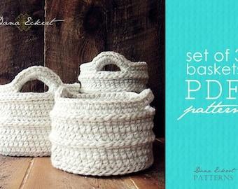 Set of 3 Crochet Basket  PDF Pattern