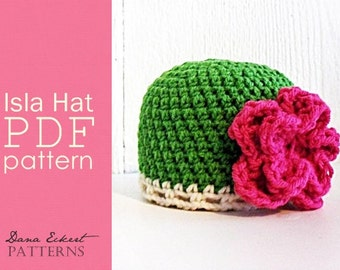 The Isla Hat PDF Crochet  Pattern (newborn to adult)