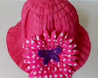 Pink Butterfly Toddler Summer Sun Hat, Polka Dot Flower Garden Beach Hat