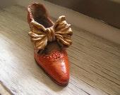 Victorian Miniature Shoe sculpture, Decorative retro red shoe, Art deco collectible feminine girl room, vintage red shoe