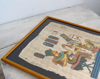 Vintage Genuine Papyrus Framed Picture, Original hand painted Egyptian Papyrus, Egyptian  Mythology motifs original artwork, Ancient Egypt