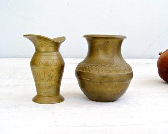 Small Succulent Pots, Miniature Brass Vases, Vintage Kitchen Jungalow Decor, Boho Decor, Tiny Brass Planters, Collector's Brass, Mid Century