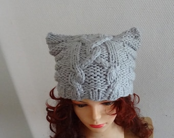 Knit Cable Cat Ears Hat Cat Beanie Chunky Knit Winter Accessories Animals Hat  cat ears hat