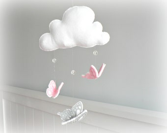 Butterfly mobile - cloud mobile - white, pink and gray - baby mobile - nursery decor - MADE TO ORDER
