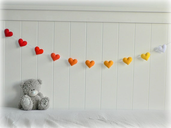 Summer Sunset heart garland - heart banner - Felt hearts in red, orange, yellow and white - nursery decor - ombré - MADE TO ORDER