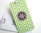 Luggage Tag Pair - Lime Green Chevron Custom Monogram Luggage Tag - Personalized Luggage Tag - Travel Tag - Your Monogram
