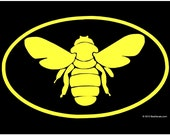 Bee Euro Car Window Decal -  Honeybee Car Sticker  - Beekeeper Bumper Sticker -  We love bees