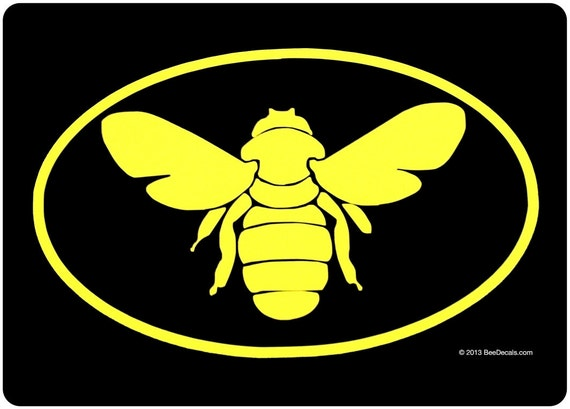 Bee Euro Car Window Decal -  Honeybee Car Sticker  - Beekeeper Bumper Sticker -  We love bees