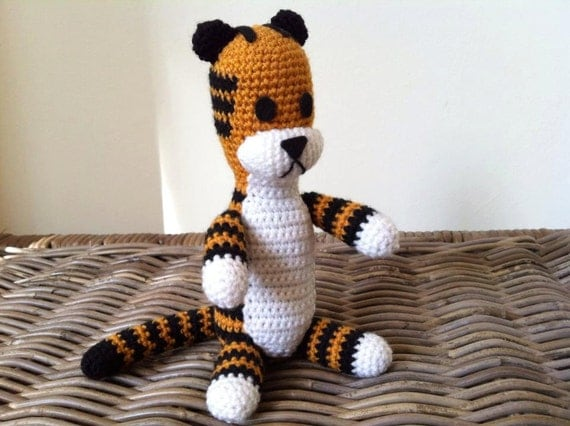 Harold the tiger plush doll version crochet amigurumi (inspired by Calvin and Hobbes) plushie softie