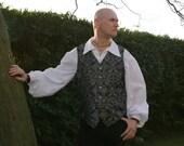 "Legendary Edwardian Steampunk Renaissance Brocade Waistcoat / Vest - Men's 36 38 40 42 44 46 48 or 50"" Chest - Silver/Black"