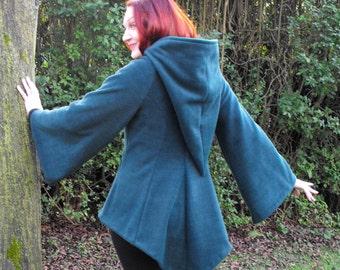 Legendary Pointed Hood 'Firebird' Fleece Top - Woman's Small in Green or XXL in Plum
