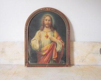 Vintage Religious Spiritual Print Jesus Catholic Heart Framed Print Home Decor Gift Vintage Art
